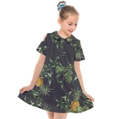 Pineapples Pattern Kids  Short Sleeve Shirt Dress by Sobalvarro