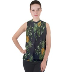 Pineapples Pattern Mock Neck Chiffon Sleeveless Top by Wmcs91