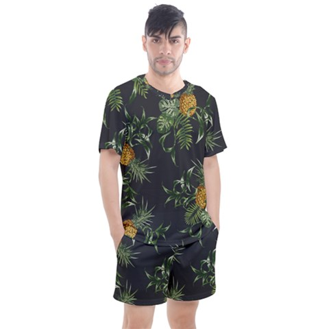 Pineapples Pattern Men s Mesh Tee And Shorts Set by Sobalvarro