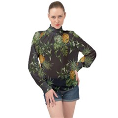 Pineapples Pattern High Neck Long Sleeve Chiffon Top by Sobalvarro