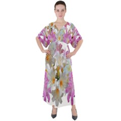 Lilies Belladonna Easter Lilies V-neck Boho Style Maxi Dress by Simbadda