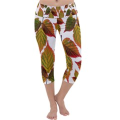 Leaves Autumn Fall Colorful Capri Yoga Leggings by Simbadda