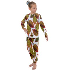Leaves Autumn Fall Colorful Kids  Long Sleeve Set  by Simbadda