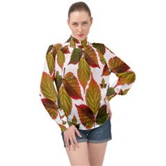 Leaves Autumn Fall Colorful High Neck Long Sleeve Chiffon Top by Simbadda