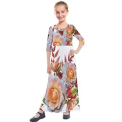 Roses Flowers Leaves Nandina Kids  Quarter Sleeve Maxi Dress by Simbadda