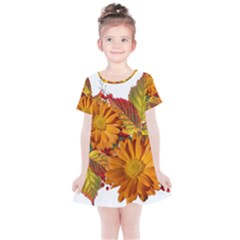 Flowers Arrangement Autumn Daisies Kids  Simple Cotton Dress by Simbadda