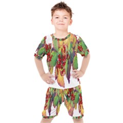 Leaves Autumn Berries Garden Kids  Tee And Shorts Set by Simbadda