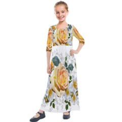 Flowers Roses White Yellow Kids  Quarter Sleeve Maxi Dress by Simbadda