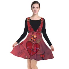 Wonderful Hearts And Rose Plunge Pinafore Dress