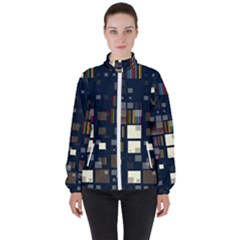 Blocks Pattern Rainbow, Backgrounds Textures Women s High Neck Windbreaker