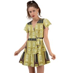 Graphic Door Entry Exterior House Flutter Sleeve Wrap Dress