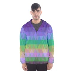 Abstract Texture Triangle Geometric Men s Hooded Windbreaker by Simbadda