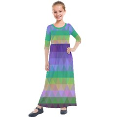 Abstract Texture Triangle Geometric Kids  Quarter Sleeve Maxi Dress by Simbadda
