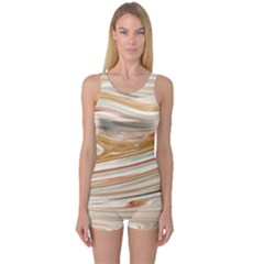 Brown And Yellow Abstract Painting One Piece Boyleg Swimsuit by Simbadda