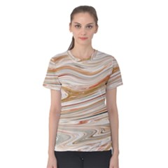 Brown And Yellow Abstract Painting Women s Cotton Tee by Simbadda