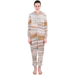 Brown And Yellow Abstract Painting Hooded Jumpsuit (ladies)  by Simbadda