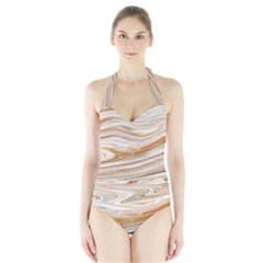 Brown And Yellow Abstract Painting Halter Swimsuit by Simbadda