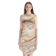 Brown And Yellow Abstract Painting Sleeveless Chiffon Dress   by Simbadda