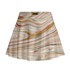 Brown And Yellow Abstract Painting Mini Flare Skirt by Simbadda