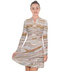 Brown And Yellow Abstract Painting Long Sleeve Panel Dress by Simbadda