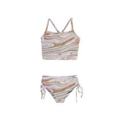Brown And Yellow Abstract Painting Girls  Tankini Swimsuit by Simbadda