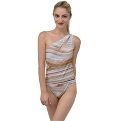 Brown And Yellow Abstract Painting To One Side Swimsuit by Simbadda