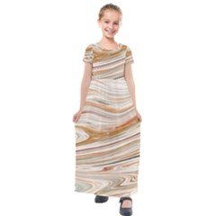 Brown And Yellow Abstract Painting Kids  Short Sleeve Maxi Dress by Simbadda