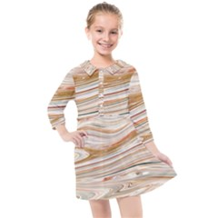 Brown And Yellow Abstract Painting Kids  Quarter Sleeve Shirt Dress by Simbadda