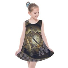 Wonderful Elegant Steampunk Heart, Beautiful Clockwork Kids  Summer Dress by FantasyWorld7