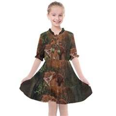 Awesome Wolf In The Darkness Of The Night Kids  All Frills Chiffon Dress by FantasyWorld7