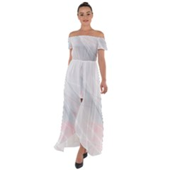 Whispy Off Shoulder Open Front Chiffon Dress