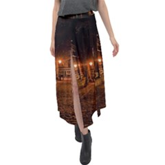 City Night Dark Architecture Lamps Velour Split Maxi Skirt by Sudhe