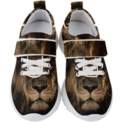 African Lion Wildcat Mane Closeup Kids  Velcro Strap Shoes