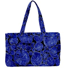 Neon Abstract Cobalt Blue Wood Canvas Work Bag by Bajindul