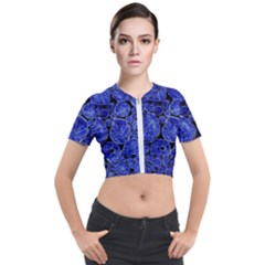 Neon Abstract Cobalt Blue Wood Short Sleeve Cropped Jacket