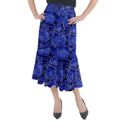 Neon Abstract Cobalt Blue Wood Midi Mermaid Skirt