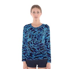 Neon Abstract Surface Texture Blue Women s Long Sleeve Tee by HermanTelo