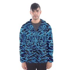 Neon Abstract Surface Texture Blue Men s Hooded Windbreaker