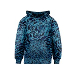 Neon Abstract Surface Texture Blue Kids  Pullover Hoodie