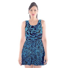 Neon Abstract Surface Texture Blue Scoop Neck Skater Dress