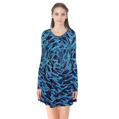 Neon Abstract Surface Texture Blue Long Sleeve V-neck Flare Dress