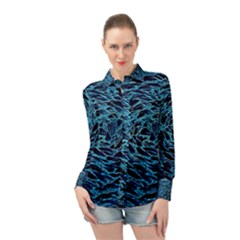 Neon Abstract Surface Texture Blue Long Sleeve Chiffon Shirt by HermanTelo