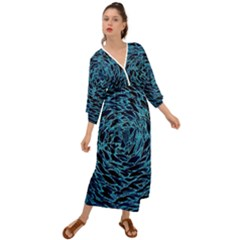 Neon Abstract Surface Texture Blue Grecian Style  Maxi Dress