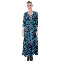 Neon Abstract Surface Texture Blue Button Up Maxi Dress