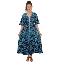 Neon Abstract Surface Texture Blue Kimono Sleeve Boho Dress