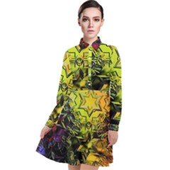 Background Star Abstract Colorful Long Sleeve Chiffon Shirt Dress