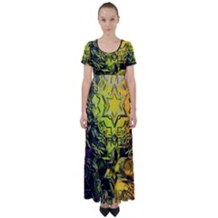 Background Star Abstract Colorful High Waist Short Sleeve Maxi Dress