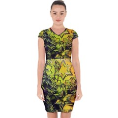 Background Star Abstract Colorful Capsleeve Drawstring Dress