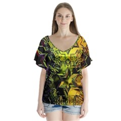 Background Star Abstract Colorful V Neck Flutter Sleeve Top