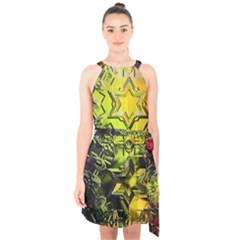 Background Star Abstract Colorful Halter Collar Waist Tie Chiffon Dress